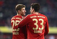 FUSSBALL   1. BUNDESLIGA  SAISON 2012/2013   16. Spieltag FC Augsburg - FC Bayern Muenchen         08.12.2012 Thomas Mueller mit Mario Gomez (v. li., FC Bayern Muenchen)