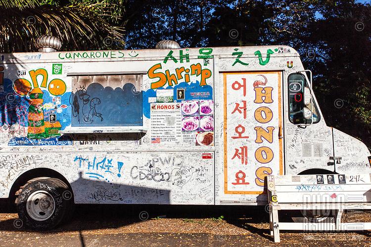 Honos shrimp truck in Haleiwa, O'ahu.