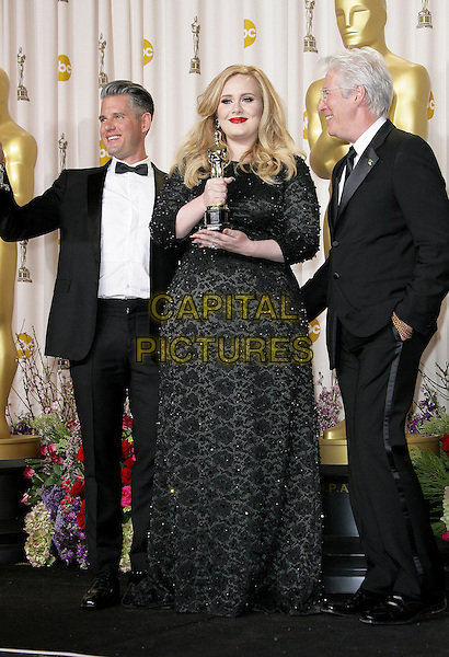 Paul Epworth, Adele (Adele Laurie Blue Adkins) & Richard Gere.85th Annual Academy Awards held at the Dolby Theatre at Hollywood & Highland Center, Hollywood, California, USA..February 24th, 2013.pressroom oscars full length trophies winners black dress tuxedo white shirt glasses side award trophy winner  beads beaded .CAP/ADM.©AdMedia/Capital Pictures.