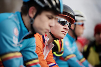 Mathieu Van der Poel (NLD) at the start in-between the Belgian Armada<br /> <br /> Elite Men's race<br /> <br /> 2015 UCI World Championships Cyclocross <br /> Tabor, Czech Republic