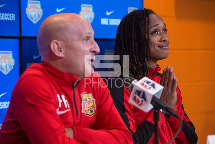 Houston, TX - October 8, 2016: The National Women's Soccer League (NWSL) held a press conference prior to the Championship match between the Washington Spirit and the Western New York Flash at BBVA Compass Stadium.