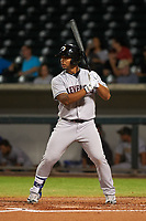 Glendale Desert Dogs first baseman Bobby Bradley (44), of the Cleveland Indians organization, at bat during a game against the Mesa Solar Sox on October 16, 2017 at Sloan Park in Mesa, Arizona. The Desert Dogs defeated the Solar Sox 2-0. (Zachary Lucy/Four Seam Images)