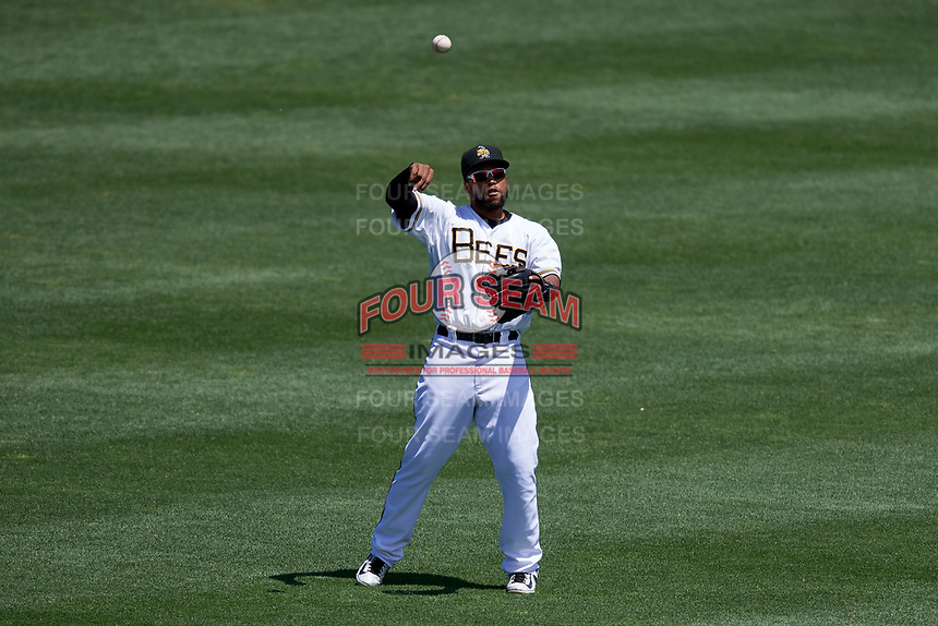 Sherman Johnson (3) of the Salt Lake Bees during the game against the Albuquerque Isotopes in Pacific Coast League action at Smith's Ballpark on June 11, 2017 in Salt Lake City, Utah. The Bees defeated the Isotopes 6-5. (Stephen Smith/Four Seam Images)