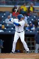 Jason Coats (17) of the Durham Bulls at bat against the Gwinnett Braves at Durham Bulls Athletic Park on April 20, 2019 in Durham, North Carolina. The Bulls defeated the Braves 11-3 in game one of a double-header. (Brian Westerholt/Four Seam Images)
