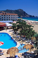 Turkey, Province Antalya, Alanya: holiday resort at Mediterranean Sea, Aladin Beach Hotel, pool and beach