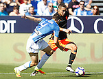 CD Leganes' Adrian Marin (l) and Valencia CF's Rodrigo Moreno during La Liga match. September 25,2016. (ALTERPHOTOS/Acero)