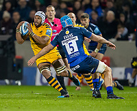 8th November 2019; AJ Bell Stadium, Salford, Lancashire, England; English Premiership Rugby, Sale Sharks versus Coventry Wasps; Nizaam Carr of Wasps avoids Bryn Evans of Sale Sharks - Editorial Use