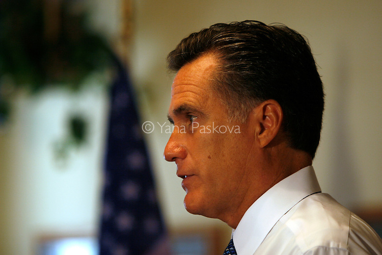 Republican Presidential candidate Mitt Romney (R-MA) campaigns with his family at The Pizza Ranch restaurant in Emmetsburg, IA, on July 21, 2007...
