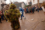 A person dressed up as a tree takes part at the carnival of Zubieta on January, 31st 2006, Basque Country. Joaldun groups take part in the carnival at the villages of Ituren and Zubieta carrying sheep furs and big cowbells on their backs to wake up the earth, looking for a good new year, a good harvest and to keep away the bad spirits.. Bostok Photo: Ander Gillenea