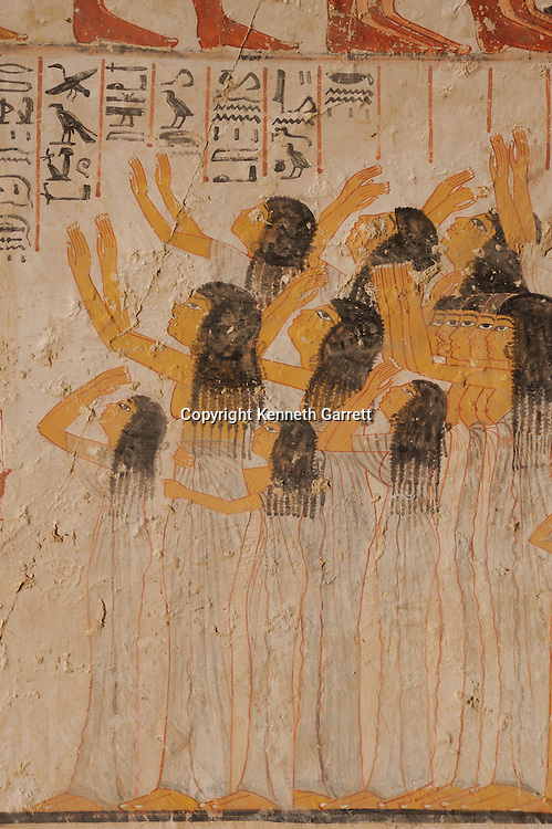 Zahi Hawass Secret Egypt Travel Guide; Egypt; archaeology; Luxor; West Bank; El Qurna; Tombs of the nobles; Tomb of Ramose, TT 55, New Kingdom, vizier reign Amenophis III, mourners
