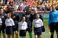 Sandy, UT - Saturday April 14, 2018: Abby Smith, Becky Sauerbrunn during a regular season National Women's Soccer League (NWSL) match between the Utah Royals FC and the Chicago Red Stars at Rio Tinto Stadium.