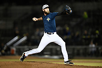 Pitcher Chris Viall (29) of the Columbia Fireflies delivers a pitch in a game against the Charleston RiverDogs on Friday, April 5, 2019, at Segra Park in Columbia, South Carolina. Charleston won, 6-1. (Tom Priddy/Four Seam Images)