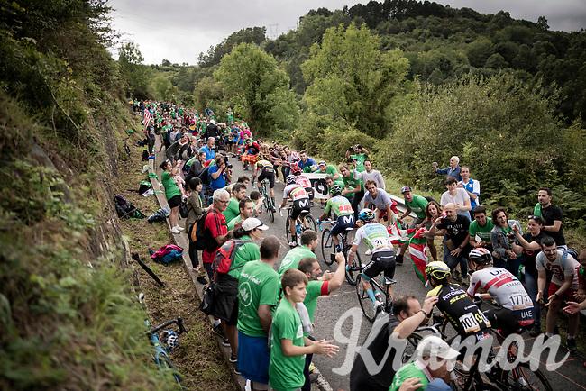 red jersey (overall leader) Primoz Roglic (SVK/Jumbo-Visma) & a group of GC favourites up the brutal (last climb) Alto de Arraiz (up to 25% gradients!), 7km from the finish <br /> <br /> Stage 12: Circuito de Navarra to Bilbao (171km)<br /> La Vuelta 2019<br /> <br /> ©kramon