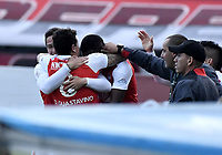 BOGOTÁ - COLOMBIA, 03-11-2018: Luis Manuel Seijas, Victor Giraldo, Diego Guastavino jugadores de Santa Fe celebran después de anotar el tercer gol al Tolima durante el encuentro entre Independiente Santa Fe y Deportes Tolima por la fecha 18 de la Liga Águila II 2018 jugado en el estadio Nemesio Camacho El Campin de la ciudad de Bogotá. / Luis Manuel Seijas, Victor Giraldo, Diego Guastavino, players of Santa Fe celebrate after scoring the third goal to Tolima during match between Independiente Santa Fe and Deportes Tolima for the date 18 of the Aguila League II 2018 played at the Nemesio Camacho El Campin Stadium in Bogota city. Photo: VizzorImage / Gabriel Aponte / Staff