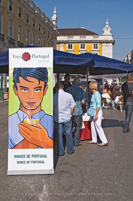 street market viniportugal stand praca do comercio lisbon portugal