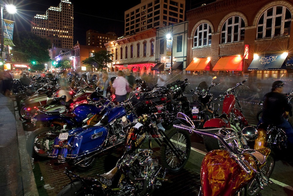 Harley Davidson Motorcycles line up and down 6th Street during the Republic of Texas Biker Rally - ROT Biker Rally