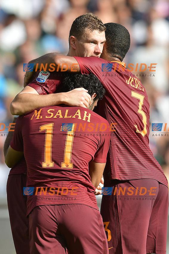 Esultanza Gol Edin Dzeko Roma Goal celebration with Mohamed Salah, Juan Jesus <br /> Napoli 15-10-2016  Stadio San Paolo <br /> Football Calcio Campionato Serie A Napoli - AS Roma <br /> Foto Andrea Staccioli / Insidefoto