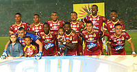 IBAGUE - COLOMBIA -  07-02-2017: Los jugadores de Deportes Tolima, posan para una foto durante partido por la fecha 2 de la Liga Aguila I 2017 entre Deportes Tolima y America de Cali, jugado en el estadio Manuel Murillo Toro de la ciudad de Ibague. / Players of Deportes Tolima, pose for a photo during a match for the date 2 of the Aguila League I 2017, between Deportes Tolima and America de Cali, played at Manuel Murillo Toro stadium in Ibague city. Photo: VizzorImage / Juan Carlos Escobar / Cont.