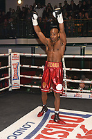 Deion Jumah (red shorts) defeats Kristian Kirilov during a Boxing Show at York Hall on 3rd March 2018