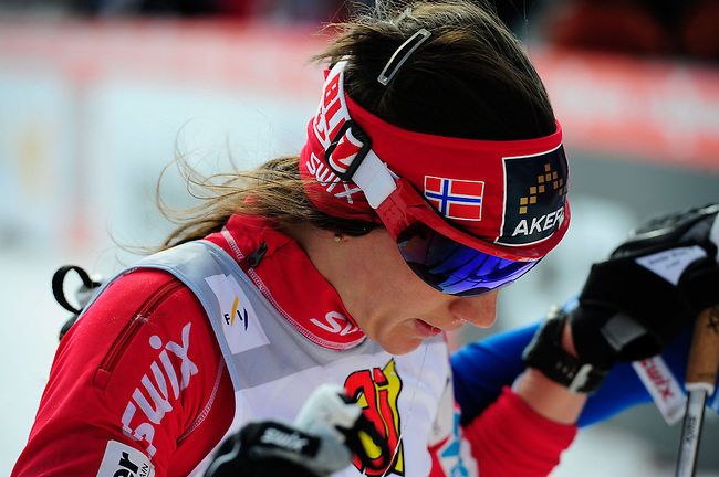 FALUN, SWEDEN - March 24: Heidi Weng of Norway (NOR) finishes 4th place at the last race of the season 2012/2013 at the Viessmann Ladies Handicap 10km F at the FIS Cross country World Cup Final on March 24, 2013 in Falun, Sweden. (Photo by Dirk Markgraf)
