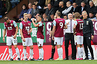 Burnley manager Sean Dyche gives instructions to his team during a break in play<br /> <br /> Photographer Rich Linley/CameraSport<br /> <br /> The Premier League - Burnley v Everton - Saturday 5th October 2019 - Turf Moor - Burnley<br /> <br /> World Copyright © 2019 CameraSport. All rights reserved. 43 Linden Ave. Countesthorpe. Leicester. England. LE8 5PG - Tel: +44 (0) 116 277 4147 - admin@camerasport.com - www.camerasport.com