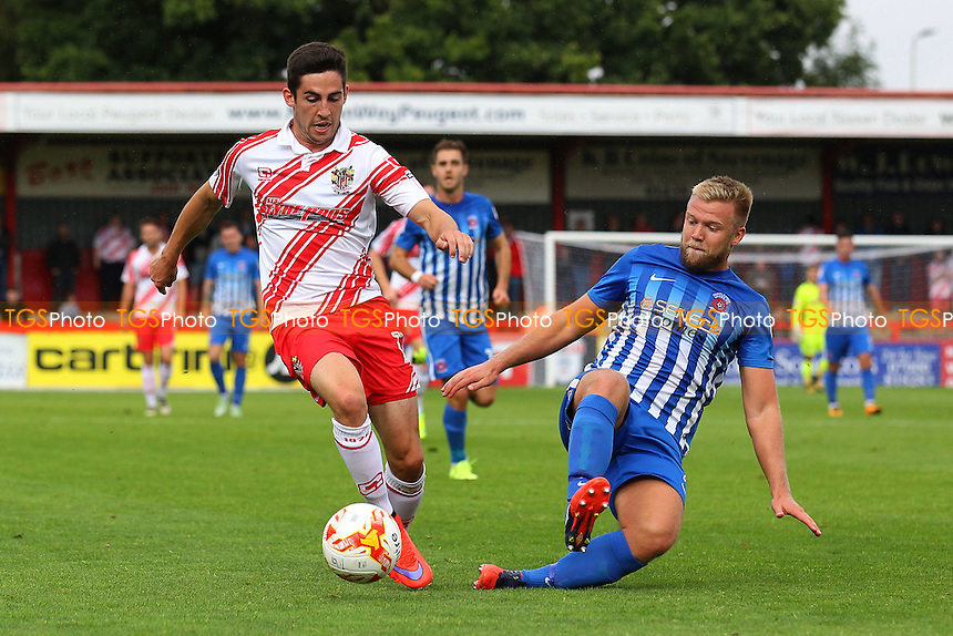 Tom Pett of Stevenage and Scott Harrison of Hartlepool United during Stevenage vs Hartlepool United, Sky Bet EFL League 2 Football at the Lamex Stadium on 3rd September 2016