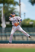 GCL Rays second baseman Jonathan Aranda (10) throws to first base during a game against the GCL Orioles on July 21, 2017 at Ed Smith Stadium in Sarasota, Florida.  GCL Orioles defeated the GCL Rays 9-0.  (Mike Janes/Four Seam Images)