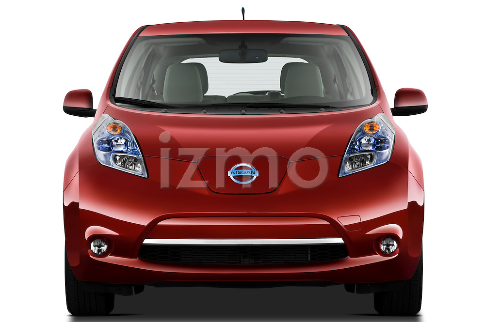 Straight front view of a 2011 Nissan Leaf SL