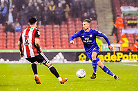 Cardiff City's defender Joe Bennett (3) cuts inside Sheffield United's defender George Baldock (2) during the Sky Bet Championship match between Sheff United and Cardiff City at Bramall Lane, Sheffield, England on 2 April 2018. Photo by Stephen Buckley / PRiME Media Images.