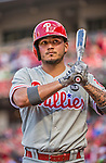 22 May 2015: Philadelphia Phillies infielder Freddy Galvis stands on deck prior to a game against the Washington Nationals at Nationals Park in Washington, DC. The Nationals defeated the Phillies 2-1 in the first game of their 3-game weekend series. Mandatory Credit: Ed Wolfstein Photo *** RAW (NEF) Image File Available ***