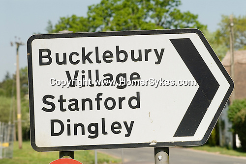 Bucklebury Village sign. Berkshire UK. Where the Kate Middleton family home is. Stanford Dingley where the The Boot inn is located, local public pub to Kate Middleton and Prince William.
