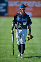 Jose Reyes (20) of the Missoula Osprey before the game against the Ogden Raptors at Lindquist Field on August 12, 2019 in Ogden, Utah. The Raptors defeated the Osprey 4-3. (Stephen Smith/Four Seam Images)