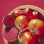 bowl of red vegetables containing lycopene, fiber, and folic acid