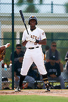 GCL Pirates third baseman Ke'Bryan Hayes (6) at bat during the first game of a doubleheader against the GCL Yankees 2 on July 31, 2015 at the Pirate City in Bradenton, Florida.  GCL Pirates defeated the GCL Yankees 2 2-1.  (Mike Janes/Four Seam Images)