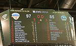 15.05.2018, EWE Arena, Oldenburg, GER, BBL, Playoff, Viertelfinale Spiel 4, EWE Baskets Oldenburg vs ALBA Berlin, im Bild<br /> Die Anzeigentafel mit dem Endstand 97 zu 85 gewinnen die EWE Baskets gegen ALBA Berlin im 4ten Spiel damit steht es jetzt 2 zu 2 in den Spielen<br />  (EWE Baskets Oldenburg  #Anzeigentafel  )<br /> (ALBA Berlin #Endstand )<br /> Foto &copy; nordphoto / Rojahn