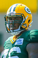 Green Bay Packers defensive tackle Mike Daniels (76) during a training camp practice on August 15, 2017 at Ray Nitschke Field in Green Bay, Wisconsin.   (Brad Krause/Krause Sports Photography)