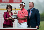 3rd June 2012 - Celtic Manor Resort - Newport - South Wales - UK :   Jaidee Thongchai of Thailand wins the ISPS Handa Wales Open Golf Tournament at the Celtic Manor Resort. He is pictured receiving his trophy from Midori Miyazaki of ISPS Handa and Richard Hills, Ryder Cup Director..
