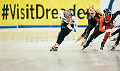 2nd February 2019, Dresden, Saxony, Germany; World Short Track Speed Skating; final, 1500 meters of the women's race in the EnergieVerbund Arena : winner Kim Jiyoo from South Korea (l.) next to Yihan Guo from China (M) and Kim Boutin from Canada