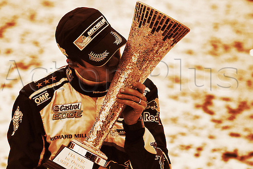 14.02.2016. Värmullsåsen, Sweden. WRC Rally of Sweden, final stage SS21.  Sebastien Ogier (FR) and Julien Ingrassia (FR) - Volkswagen Polo WRC as Ogier kisses the trophy