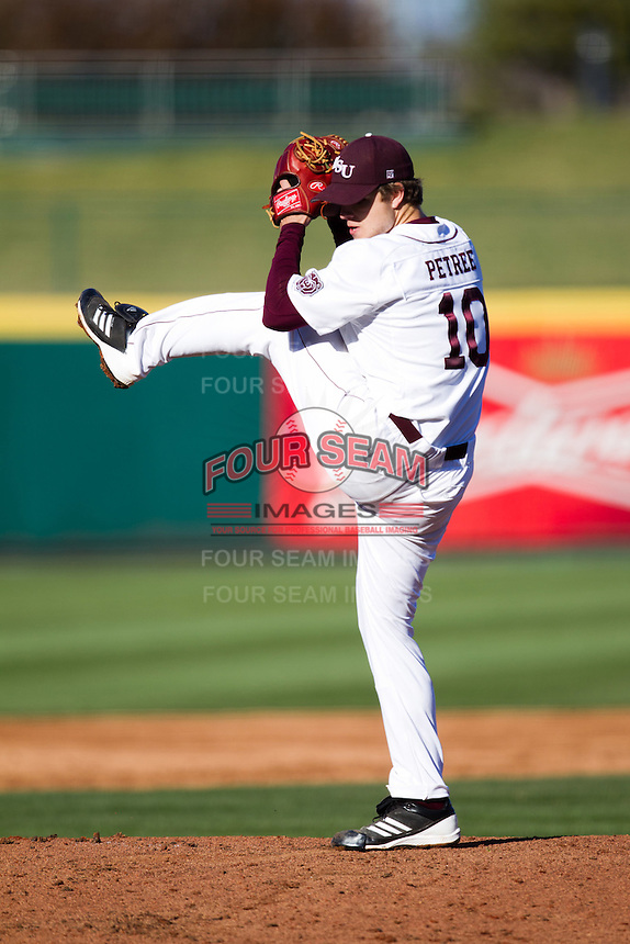 Nick Petree (10) of the Missouri State Bears winds up during a game against the Southern Illinois University- Edwardsville Cougars at Hammons Field on March 9, 2012 in Springfield, Missouri. (David Welker / Four Seam Images)