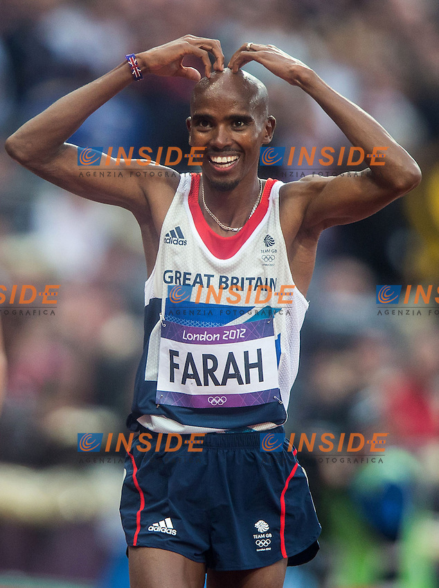 11.08.2012, Olympia Stadion, London, GBR, Olympia 2012, 5000m, Herren, Finale, im Bild Mohamed Farah (GBR, Gold Medaille) // gold medal Mohamed Farah (GBR) during Men's 5000m Final at the 2012 Summer Olympics at Olympic Stadium, London, United Kingdom on 2012/08/11. EXPA Pictures © 2012, PhotoCredit: EXPA/ Johann Groder .Olimpiadi Londra 2012.London 2012 Olympic Games.foto Insidefoto - Italy ONLY