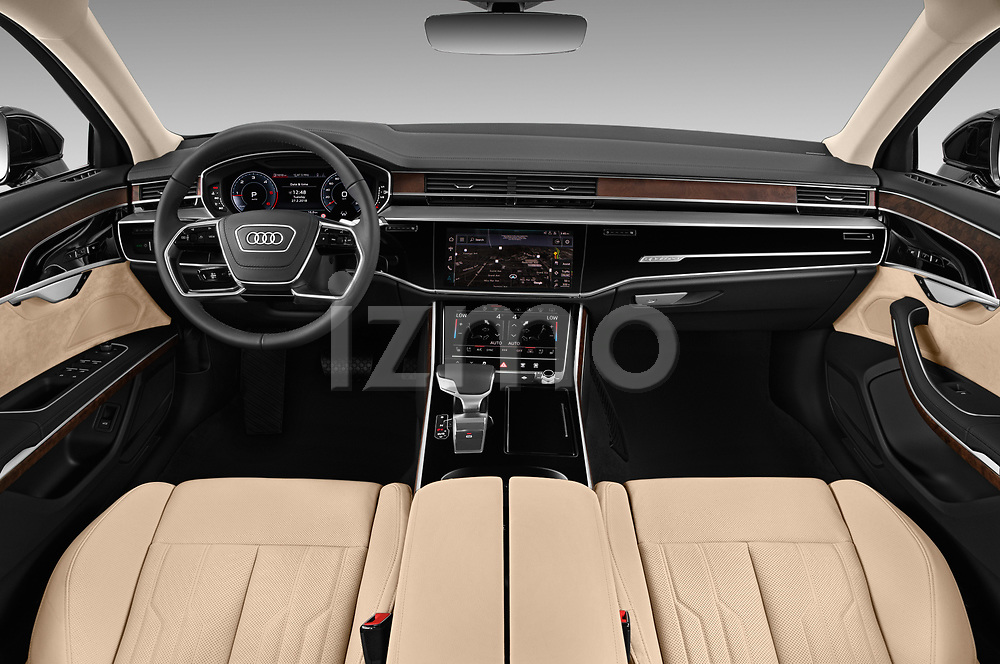 Stock photo of straight dashboard view of 2019 Audi A8-L Avus-Extended 4 Door Sedan Dashboard