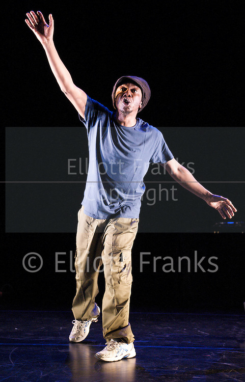 Lyrikal Fearta - Redux<br /> Jonzi D<br /> at Lilian Baylis Studio, Sadler's Wells, London, Great Britain <br /> 17th October 2012 <br /> <br /> Press photocall<br /> <br /> Jonzi D <br /> <br /> Mikey J' Asante<br /> <br /> Kenrick 'H20' Sandy <br /> <br /> <br /> Photograph by Elliott Franks
