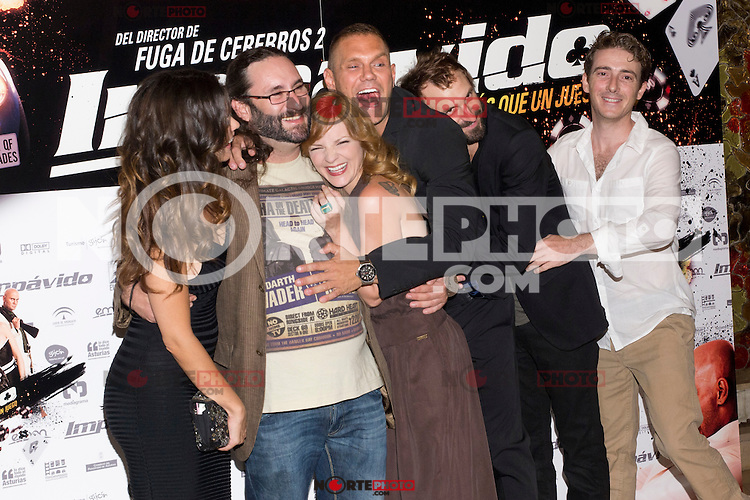 26.07.2012. Premier at Palafox Cinema in Madrid of the movie 'Impavido&acute;, directed by Carlos Theron and starring by Marta Torne, Selu Nieto, Nacho Vidal, Carolina Bona, Julian Villagran and Manolo Solo. In the image Marta Tome, Carlos Theron, Carolina Bona, Nacho Vidal, Julian Villagran and Victor Clavijo (Alterphotos/Marta Gonzalez) /NortePhoto.com <br />