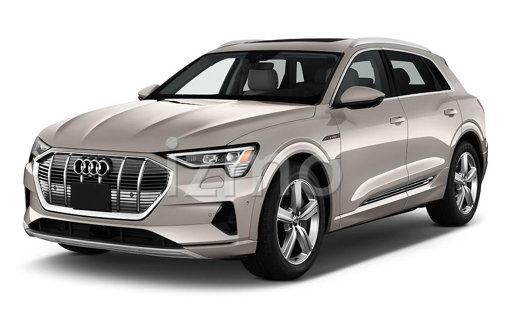 2019 Audi e-tron Prestige 5 Door SUV angular front stock photos of front three quarter view