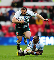 Greg Bateman of Leicester Tigers gets past Joe Rokocoko of Racing 92. European Rugby Champions Cup semi final, between Leicester Tigers and Racing 92 on April 24, 2016 at The City Ground in Nottingham, England. Photo by: Patrick Khachfe / JMP