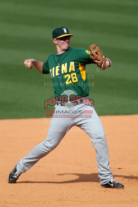 Siena Saints third baseman Brian Fay #28 during a game against the UCF Knights at the UCF Baseball Complex on March 4, 2012 in Orlando, Florida.  Central Florida defeated Siena 15-2.  (Mike Janes/Four Seam Images)