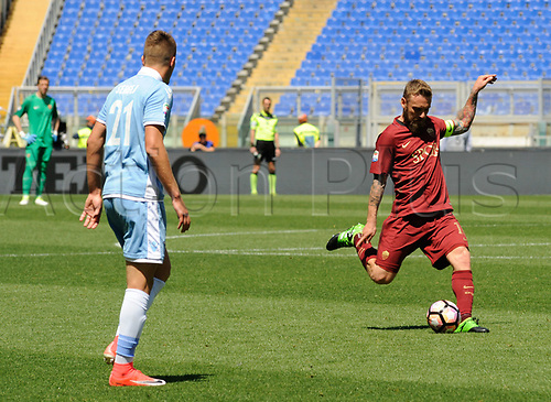 April 30th 2017, Stadio Olimpico, Rome, Italy;   Serie A football,  Roma versus SS Lazio; Daniele De Rossi takes a shot on goal