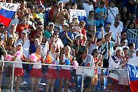 RAVENNA, ITALIA, 10 DE SETEMBRO DE 2011 - COPA DO MUNDO DE BEACH SOCCER - Torcedores da Russia sao vistos no Stadium Del Mare durante partida contra El Salvador, pelas semi-finais da Copa do Mundo de Beach Soccer  em Ravenna, na Italia, neste sabado (10). (FOTO: WILLIAM VOLCOV - NEWS FREE).