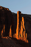 Last sunlight of the day on sandstone pillars, Monument Valley, Monument Valley Tribal Park, Arizona